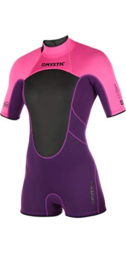 Mystic Watersports - Surf Kitesurf & Windsurfing Womens Brand 3/2mm Back Zip Shorty Wetsuit Purple - Easy Stretch from Mystic