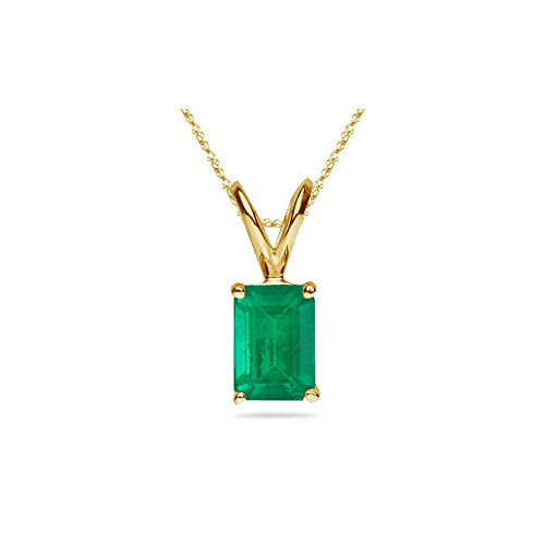 Emerald Cut Solitaire Pendant - 0.21-0.36 Cts of 5x3 mm AA Emerald Cut Natural Emerald Solitaire Pendant in 14K Yellow Gold
