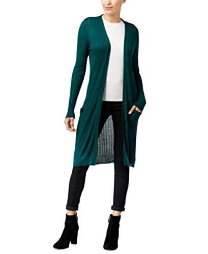 Joseph A Womens Duster Open Front Cardigan Sweater Green M