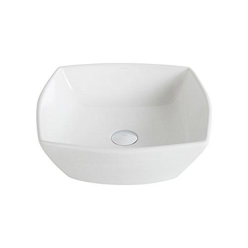 (Kraus KCV-126-CH Elavo Bathroom Vessel Sink with Pop Up Drain, 16.5 Inch, Chrome/White)