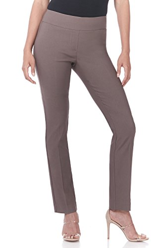 Rekucci Women's Ease in to Comfort Straight Leg Pant with Tummy Control (10,Mocha) ()