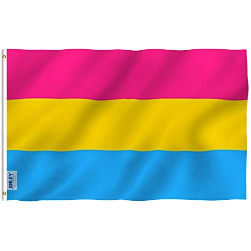 Anley [Fly Breeze 3x5 Foot Pansexual Pride Flag - Vivid Color and UV Fade Resistant - Canvas Header and Double Stitched - Omnisexual LGBT Flags Polyester with Brass Grommets 3 X 5 Ft