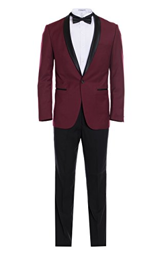 King Formal Wear Men's Premium Slim Fit Shawl Lapel Tuxedos -Many Colors- Includes A Free Bow Tie (Burgundy with Black, 34 Short)… Burgundy Tuxedo