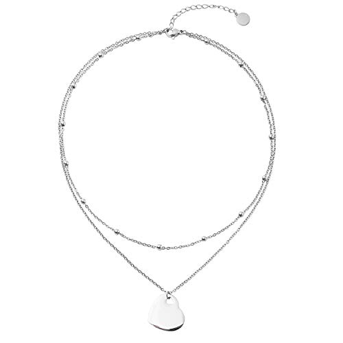 LETTARIUS Heart Disc Coin Charm Pendant Necklace Layered Stainless Steel Chain Layering Choker Silver for Women Girls X10S ()