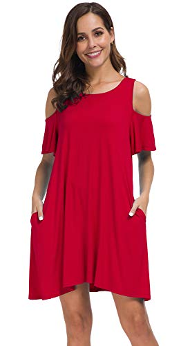 Malist Women's Summer Cold Shoulder Tunic Top T-Shirt Swing Dress with Pockets Red Large