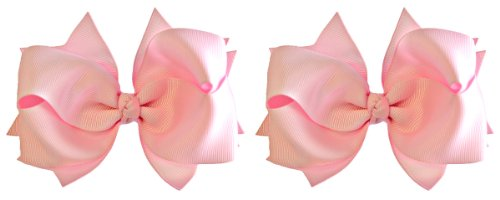 (Hair Bow Set for Girls (2) 4.5 Inch Grosgrain Ribbon Hair Bows ~ Funny Girl Designs (Light Pink))