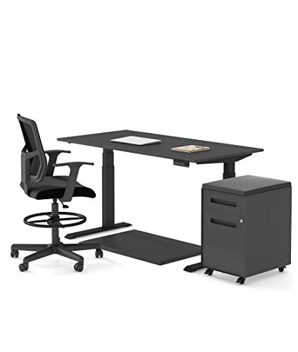 Electric Stand Up Desk Standard Bundle - Includes a Standing Desk/Height Adjustable Desk, 2 Drawer File Cabinet/Rolling File Cabinet, Anti Fatigue Mat, and Drafting Chair (60