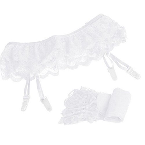 Sexy Lingerie for Women,Gallity Lace Top Thigh-Highs Stockings Socks + Suspender Garter Belt (White, free size)