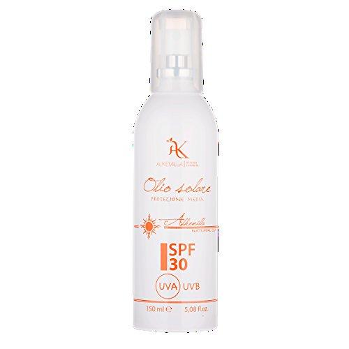 ALKEMILLA - Oil Solaire Spray SPF 30 Medium Protection - Protège la Peau Contre les Rayons UVA et UVB - Nourrissante et Apaisante - Non Grasse - 150 ml