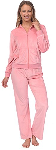 Pink Lady Womens Soft Velour Zip Hoodie and Bottoms Lounge Tracksuit (Pink Icing, L) ()