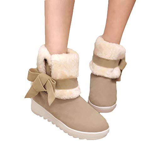 Fitfulvan Clearance,Women Snow Boots Classical Bowtie Slip-On Student Casual Shoes(Khaki,5.5)