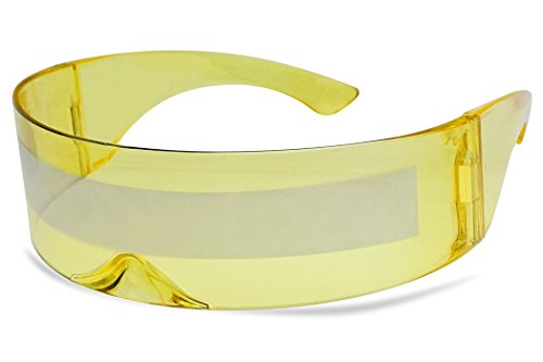 Futuristic Full Shield Mono Lens Wrap Around Cyclops Cosplay Sunglasses (Yellow Silver) -