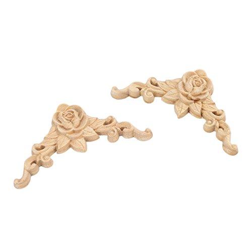 2pcs 8x8cm Wood Carved Corner Onlay Applique Door Cabinet Rose Unpainted European Style