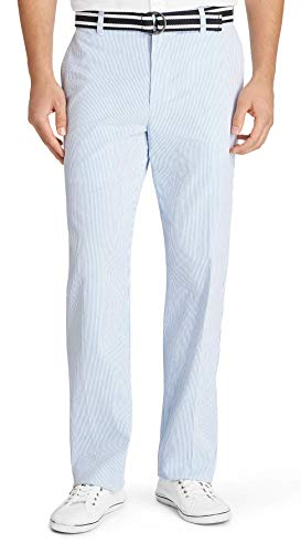 IZOD Men's Sandybay Belted Seersucker Straight Fit Pant (Blue Heather, 42W x 32L) ()