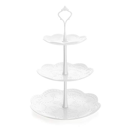 (Nuovoware 3-Tier Cake Stand, Fruit Desserts Cupcake Candy Buffet Tea Snack Cookies Plastic Plate Stand Serving Platter Display Tree Tower Stand for Wedding Home Birthday Festival Party, Round, White)