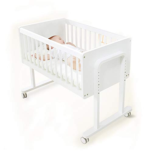 Wooden Crib Multi-Function Mini Bed Can Be Turned Into Desk Height Adjustable (Color : White, Size : 92x55x55cm) ()