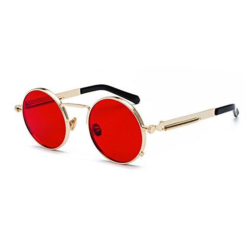 primavera gafas Rojo Dorado metal las de redondas ovales Gafas de vintage Yefree gafas señoras de Bw7XnOqH