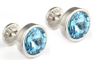 Mousie Bean Mens Crystal Goblet Cufflinks - Aqua Blue