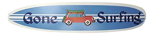 Gone Surfing Surf Sign (Beachy Blue Surfboard with Woody Gone Surfing Wooden Wall Sign Plaque)