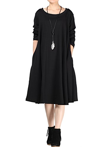 Mordenmiss Women's New Spring/Fall Round Neck Pullover Dress - Large - Style 1 Black