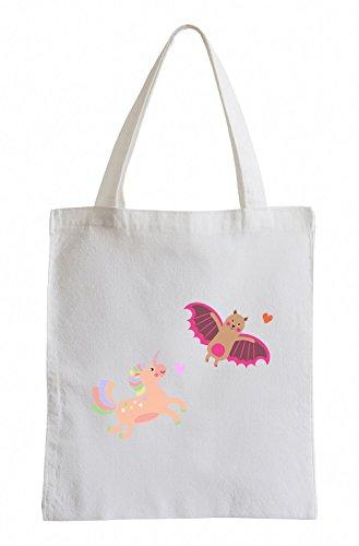 Raxxpurl Unicorn e pipistrello Fun sacchetto di iuta