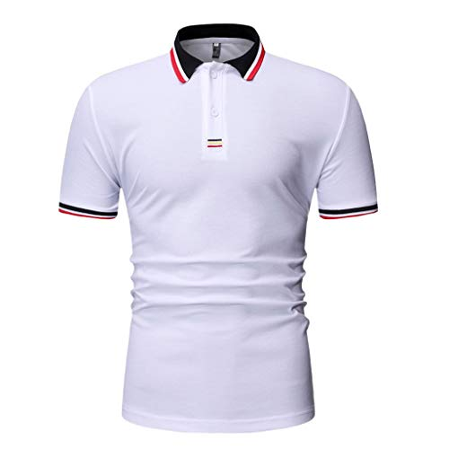 JJLIKER Mens Short Sleeve Polo Shirt Cotton Regular Fit T-Shirts Casual Slim Fit Tops Solid Button Basic Sport Golf Tees White