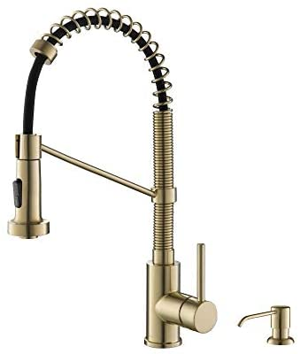 Kraus KPF-1610-KSD-53SFACB Bolden 18-Inch Commercial Kitchen Faucet with Soap Dispenser, Spot Free Antique Champagne Bronze