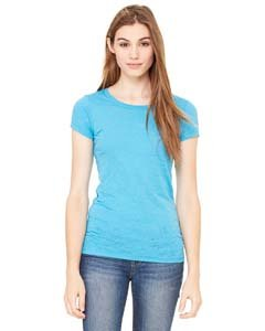 Ladies' Burnout Tee Shirt, Color: Aqua, Size: Large