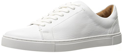 Low Leather Sneakers - FRYE Women's Ivy Low LACE Fashion Sneaker, White Tumbled Cow Leather, 6 M US