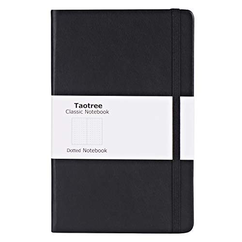 Black Classic Journal Notebooks, Dot Grid Hard Cover Notebook, A5 Size: 5 X 8.3, 144 Pages, Fine PU Leather, Inner Pocket, 100gsm Quality Paper