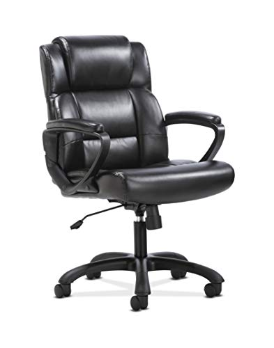 Sadie Leather Executive Computer/Office Chair with Arms - Ergonomic Swivel Chair (HVST305) (For Chairs Desks Computer)