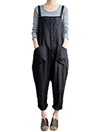 Women's Strappy Jumpsuits Overalls Casual Harem Pants Wide Leg Low Crotch Loose Trousers