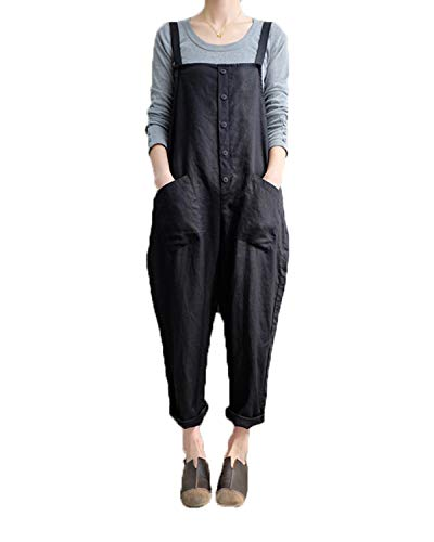Cotton Overalls - Celmia Women's Strappy Jumpsuits Overalls Casual Harem Pants Wide Leg Low Crotch Loose Trousers Black XL