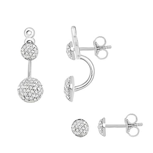 NATALIA DRAKE 1/4cttw 2 in 1 Behind The Ear Pave Diamond Fashion Earrings
