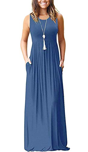 AUSELILY Women's Summer Sleeveless Loose Plain Maxi Dress Casual Long Dress with Pockets (XL, Beja Blue)