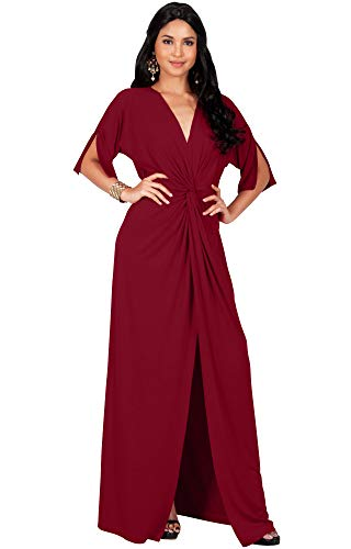 KOH KOH Plus Size Womens Long Sexy V-Neck Short Sleeve Cocktail Evening Bridesmaid Wedding Party Slimming Casual Summer Maxi Dress Dresses Gown Gowns, Crimson Dark Red 2XL 18-20