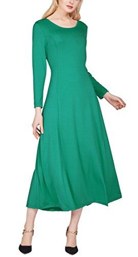 Urban GoCo Mujer Vestido Largo Casual de Manga Larga de Cuello Redondo A Linea Suelto Midi Vestidos Verde