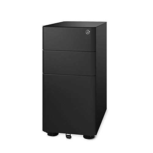 DEVAISE 3-Drawer Slim Mobile File Cabinet with Lock, Legal/Letter Size, Black