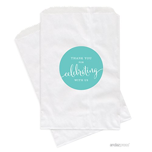 Andaz Press Dessert Table Party Favor Bags, Thank You for Celebrating With Us, Diamond Blue, 20-Pack, For Wedding Baby Shower Graduation Candy Buffet Treat - Co Tiffany Baby And