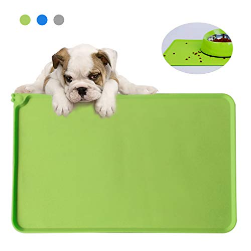 Andiker Dog Food Mat, Silicone Dog Cat Bowl Mat Non Slip Pet Dog Feeding Mat Waterproof and Washable Dog Placemat Pet…