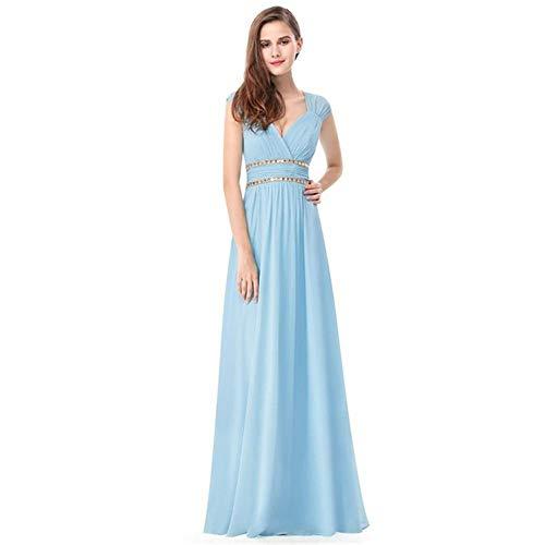 V Cuello Moldeado Novia A color Con Noche Hecho Us6 Fengbingl Vestido Tamaño Bright Blue Hombros Mano En De Banquete SqPfxFyO