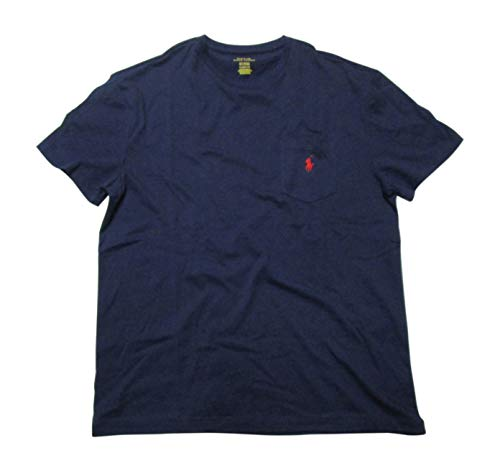 Polo Ralph Lauren Mens Stretch Cotton Pocket T-Shirt (Navy/Red Pony, Medium)