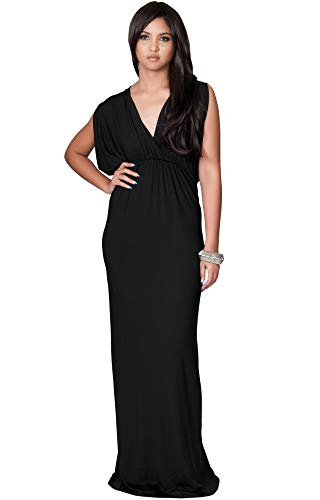 - KOH KOH Plus Size Womens Long Sexy Grecian Short Sleeve Summer Empire Bridesmaid Bridesmaids Wedding Guest Casual Party Evening Sundress Gown Gowns Maxi Dress Dresses, Black XL 14-16