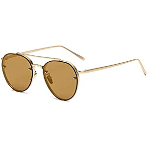 Aviator Oversized Women Men Metal Sunglasses Fashion Designer Frame Colored Lens OWL (86025_C3_Gold_Brown, PC Lens)