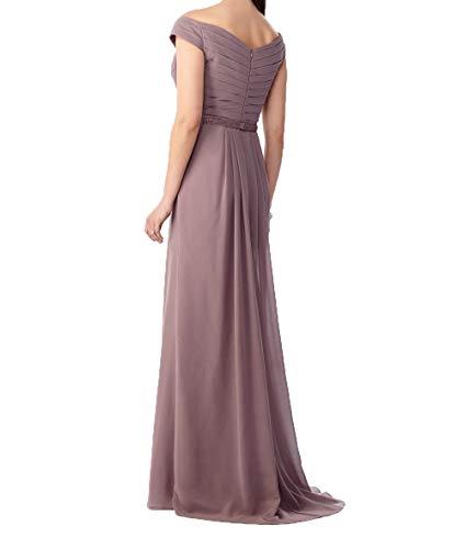 Lang Schulterfrei Charmant Partykleider Chiffon Promkleider Abendkleider Rot Brautjungfernkleider Etuikleider Damen vx656tqP