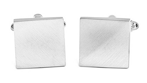 David Van Hagen Mens Brushed Angled Square Cufflinks - Silver
