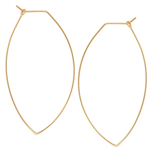 Marquise Threader Big Hoop Earrings - Lightweight Oval Leaf Statement Drop Dangles, 18K Yellow - 2.3 inch, Gold-Electroplated, Hypoallergenic, by Humble Chic NY