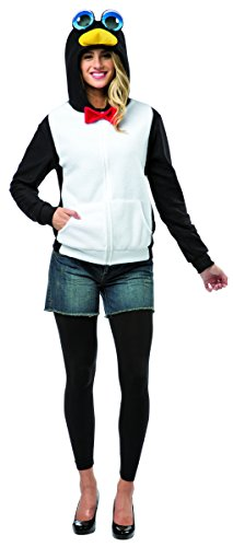 Rasta Imposta Women's Penguin Hoodie, Black/White, Medium (Adult Simple Halloween Costumes)