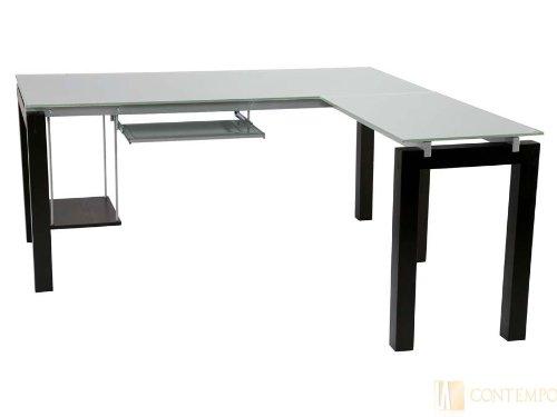 Eurostyle Ballard L-Shape Desk with Glass Top (Writing Euro Style Desk)