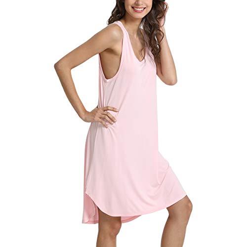 (WiWi Soft Bamboo Sleeveless Scoop Neck Nightgowns Tank Top Sleep Shirts for Women S-XXXXL(4XL), Pink, Medium)